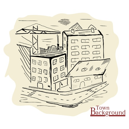 Background with the image of the town  Without gradients  Picture imitating watercolor drawing  Buildings in a single color Stock Vector - 17225570
