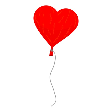 Vector - heart shape, red balloon  Without gradients  Vector