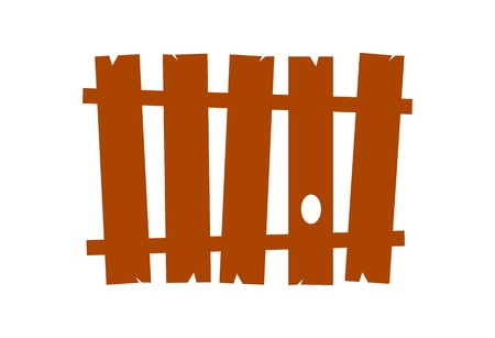 white fence: Vector - wooden folk fence  Illustration