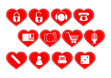 Set of buttons in the shape of a heart  Only one color Stock Vector - 17305340