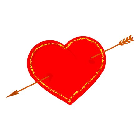 Red heart pierced by an arrow on a white background Stock Vector - 17305334