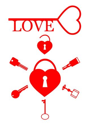 gold keyhole: A set of keys and heart on a white background.