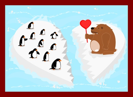 floe: Bear holding a heart and penguins on an ice floe drifting  Vector illustration without gradients  Illustration
