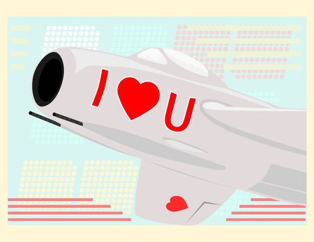 The old fighter jet with the signs in the shape of a heart  Vector without gradients with space for any text Stock Vector - 17531431