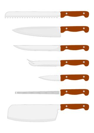 viande couteau: Un ensemble de couteaux de cuisine et de fusil sur un des �l�ments blancs vectorielle arri�re-plan sans d�grad�s, facile � utiliser dans n'importe quelle composition Illustration