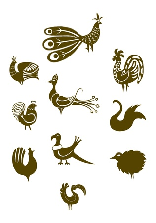 A set of images of birds in folk style on a white background. Elements of one color, easy to change. Vector. Vector