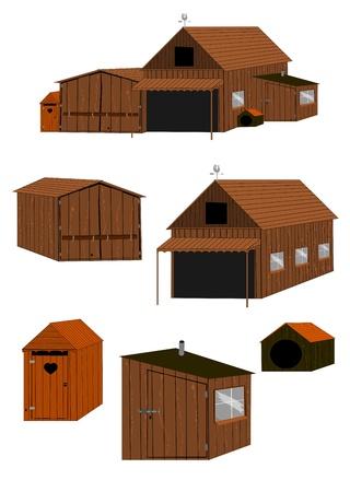 Los edificios de madera de la granja sobre un fondo blanco usted puede crear fácilmente sus propios edificios mediante la adición y la ampliación de los elementos del vector sin gradientes Foto de archivo - 17664952