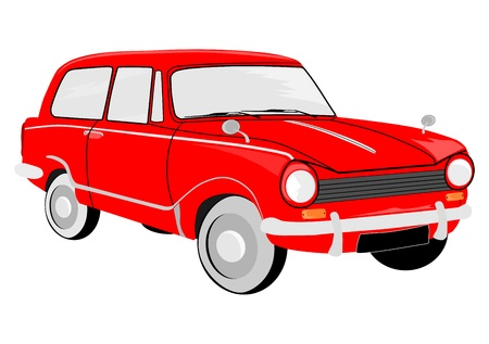 small car: European small car from the sixties on a white background. Vector without gradients.