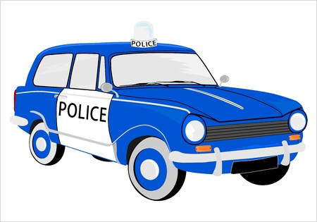 Retro police car on a white background. Vector without gradients.