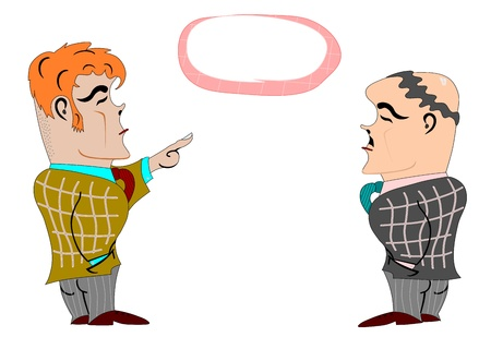 Two men drawn in a retro style on a white background. Bubble with space for any text. Vector without gradients. Vector