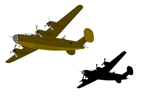 wartime: Two silhouettes of military aircraft from the Second World War. Ideal for inclusion in the compositions in retro style. Vector without gradients.