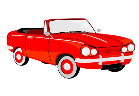 Old sports convertible on a white background. Vector without gradients. Stock Vector - 17664959