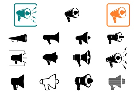 Megaphone side view  One color set of web icons on a white background  Stock Vector - 17919353