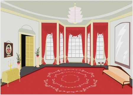 palatial: Background of palatial room in retro style  You can add your own characters and items Stock Photo