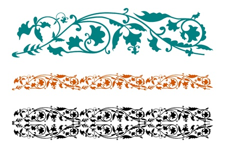 Set of abstract floral patterns on a white background. Early medieval style arabesques easy to create your own design. photo