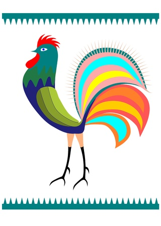 polish chicken: Colorful rooster side view  Polish folk design on a white background  Easy to put in any composition