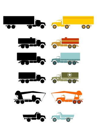 Set of six trucks and their silhouettes in retro style on a white background  Vector