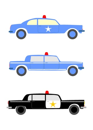 A set of three police cars silhouettes in retro style on a white background. Easy to isolate and put in your design. Vector