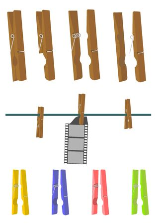 Wooden clothes peg on a white background. Separate top and bottom elements you can easily be combined by changing the angle or adding another element in between. Without gradients. Vector