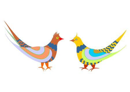 A pair of colorful folk-style cuckoos Polish folk art on a white background. Vector