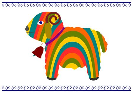 folkstyle: Easter lamb in a colorful folk-style on a white background.