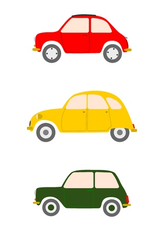 A set of colorful silhouettes of small European cars on a white background