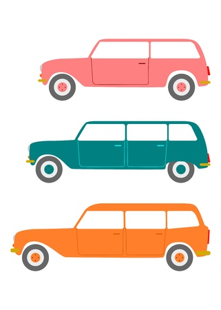 estate car: A set of colorful silhouettes estate car in retro style on a white background  Illustration