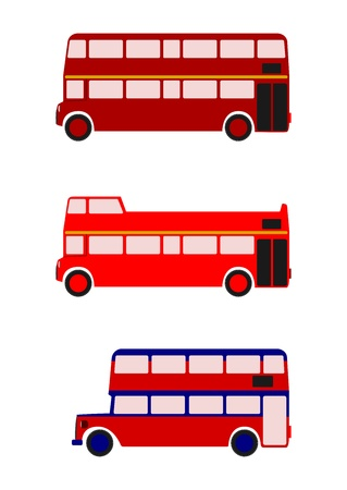 double decker bus: London buses colored silhouette on a white background. With place for any text. Without gradients.