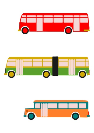 Side view of colorful silhouettes of retro bus on white background. With place for any text. Without gradients.