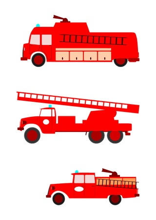 Side view of colorful retro silhouette fire engines on a white background. With place for any text. Without gradients.