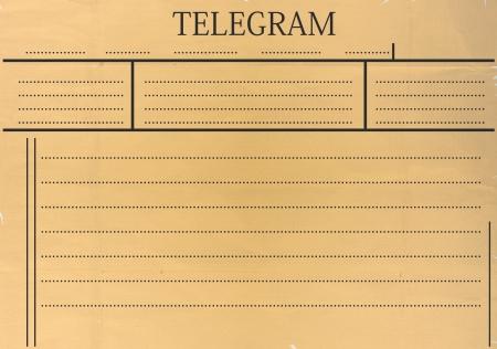 telegrama: Telegrama en blanco con el espacio para el texto