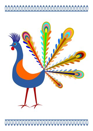 Peacock in Polish folk art style on a white background  Vector
