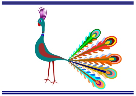Peacock in Polish folk art style on a white background Stock Vector - 18387314