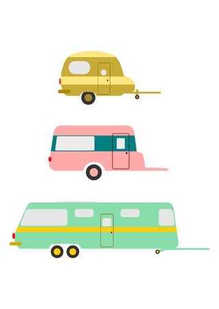 Silhouettes of retro caravan on a white background