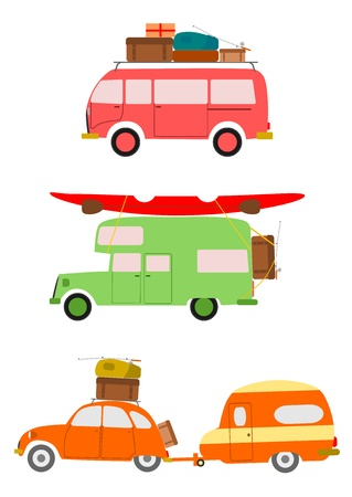 family vacations: Silhouettes of cars going on holiday on white background