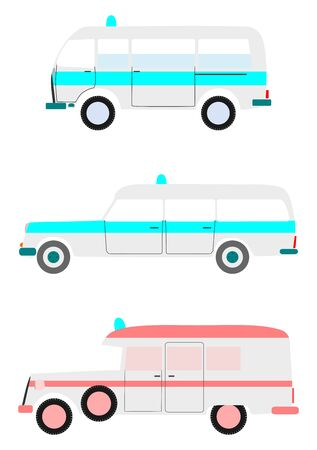Colorful silhouettes of old ambulances on a white background  Vector