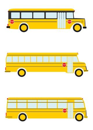白い背景の上の古い学校バスのカラフルなシルエット