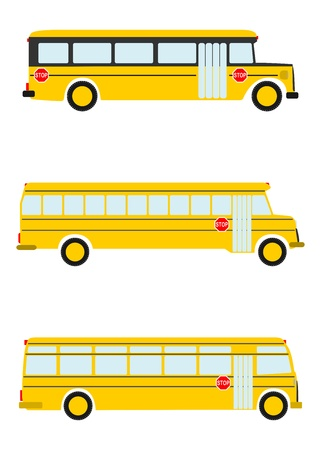 public schools: Colorful silhouettes of the old school bus on a white background