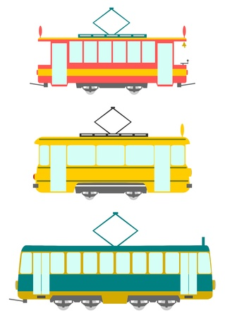 Set in a retro style trams on a white background. Vector