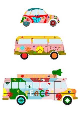 van: Colorful hippie car silhouette on a white background.