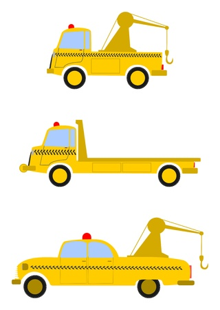 Roadside assistance vehicles and tow trucks on a white background.