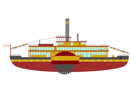Retro steamboat cruise on a white background. Vector