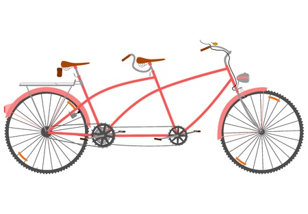 Side view of a tandem in a retro style on a white background.