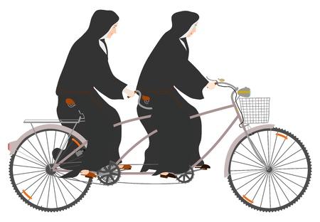 Side view of two nuns riding tandem on a white background. Ilustração