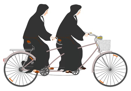 dual: Side view of two nuns riding tandem on a white background. Illustration