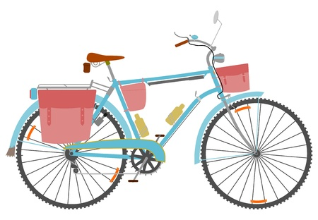 Classic touring bike with derailleur and saddlebags on a white background.