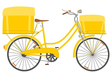 Postal or courier bike on a white background. Vector