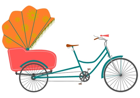 Rickshaw in a retro style on a white background.