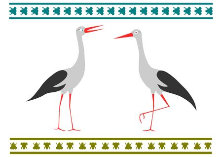 A pair of storks in a folk style on a white background. Vector