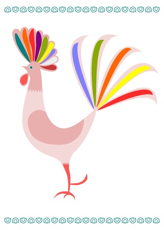 Young colorful rooster on a white background. Polish folk theme. Vector